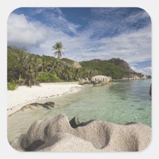 Seychelles, isla de Digue del La, estado de Pegatina Cuadrada