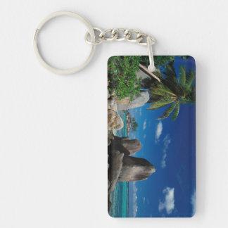 Seychelles, isla de Mahe, playa de Anse Royale Llavero Rectangular Acrílico A Doble Cara