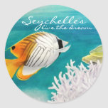 Seychelles live the dream angelfish round sticker