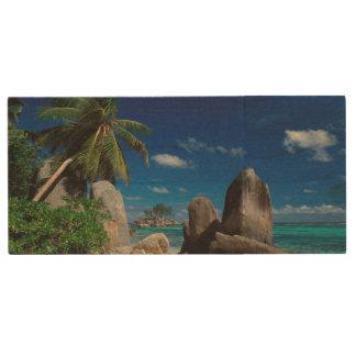 Seychelles, Mahe Island, Anse Royale Beach. Wood Flash Drive