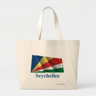 Seychelles que agitan la bandera con nombre bolsas lienzo