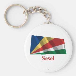 Seychelles que agitan la bandera con nombre en Ses Llaveros