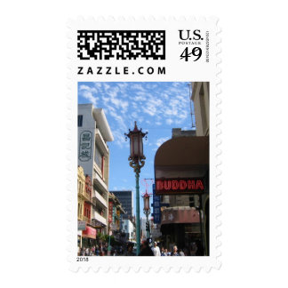 SF Chinatown Street & Lamppost Photo Postage Stamp
