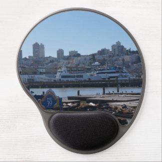 SF City Skyline & Pier 39 Sea Lions Gel Mousepad