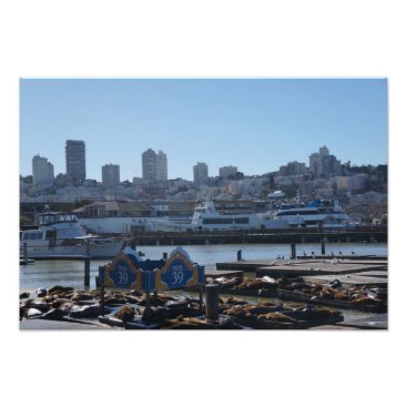everydaylifesf SF City Skyline & Pier 39 Sea Lions Photo Print