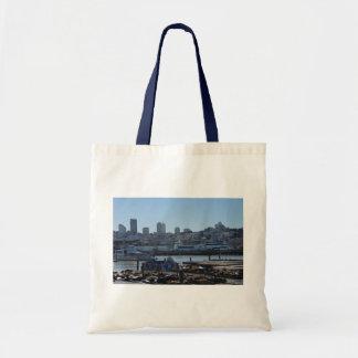 SF City Skyline & Pier 39 Sea Lions Tote Bag
