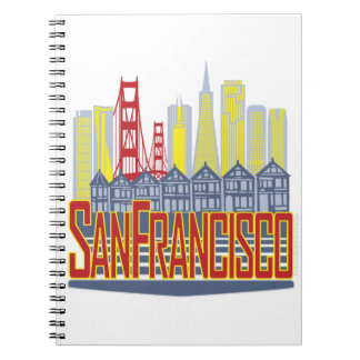SF Golden Skyline Spiral Notebook