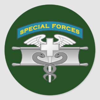 SF Q-tab and Expert Medic badge - EIB Round Stickers