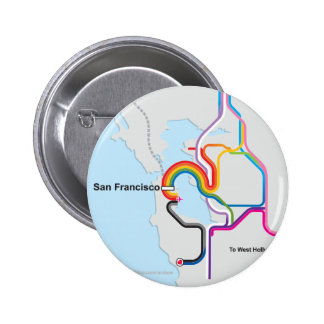 SF Rainbow Map Pinback Buttons