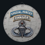 "SF Ranger Master Airborne Dartboard<br><div class=""desc"">Original photo of Special Forces and Ranger dress tabs over Master Airborne wings</div>"