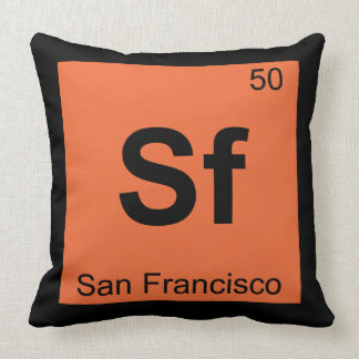 Sf - San Francisco City Chemistry Periodic Table Throw Pillow