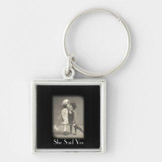 SFirst Kiss She Said Vintage Photograph Key Chain