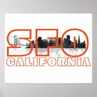 SFO CALIFORNIA BW - Poster