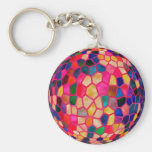 SG Light Red Glowing Crystal  Ball Basic Round Button Keychain