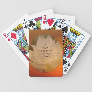 """SGI Playing Cards: Lotus and """"Nam Myoho Renge Kyo"""" Bicycle Playing Cards"""
