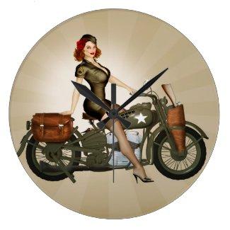 Sgt. Davidson Army Motorcycle Pinup Clock