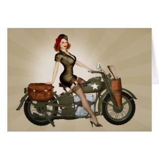 Sgt. Davidson Army Motorcycle Pinup Greeting Card