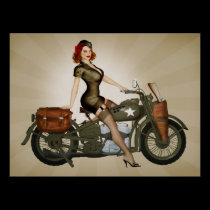 Sgt. Davidson Army Motorcycle Pinup Print