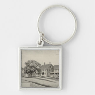 SH Dow residence Silver-Colored Square Keychain