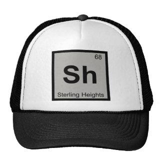 Sh - símbolo de la química de Sterling Heights Gorras