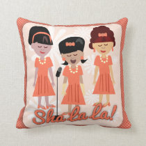 Sha La La Sixties Girl Group Cartoon Throw Pillow