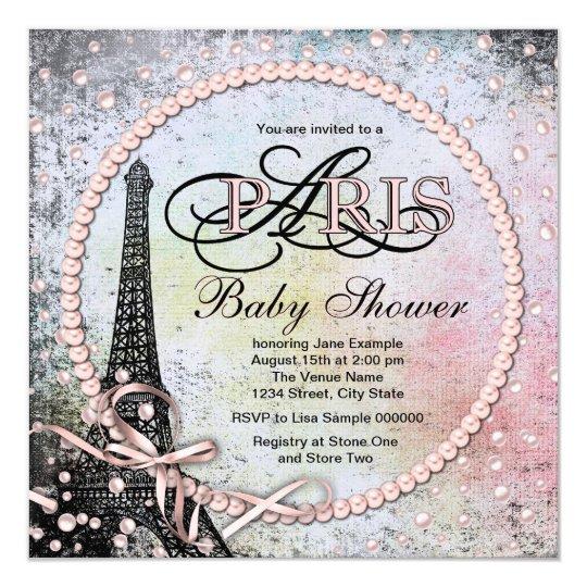 Shab Chic Paris Baby Shower Invitation