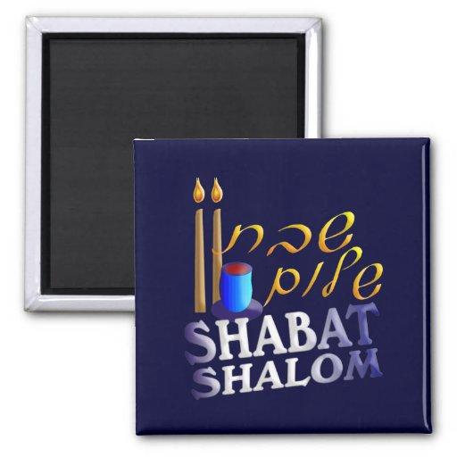Shabat Shalom 2 Inch Square Magnet