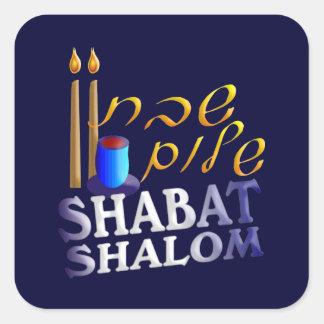 Shabat Shalom Calcomanía Cuadrada