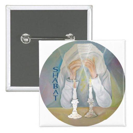 Shabbat 2 Inch Square Button