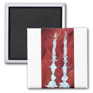 Shabbat Candles 2 Inch Square Magnet