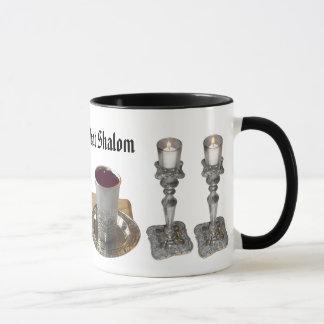 Shabbat Challah, Knife, Wine, & Candles Mug