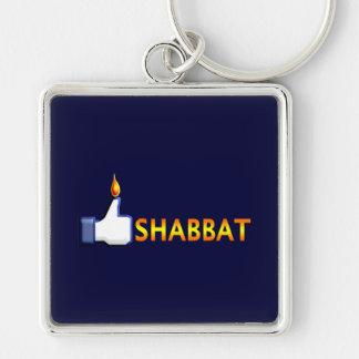 Shabbat Silver-Colored Square Keychain
