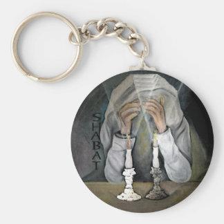 Shabbat Basic Round Button Keychain