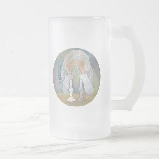 Shabbat 16 Oz Frosted Glass Beer Mug