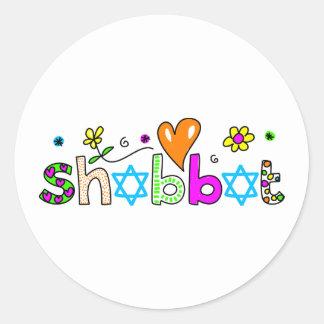 Shabbat Pegatina Redonda