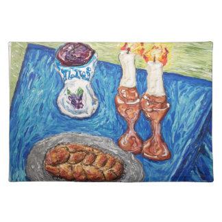 shabbat shalom art original judaica painting placemat