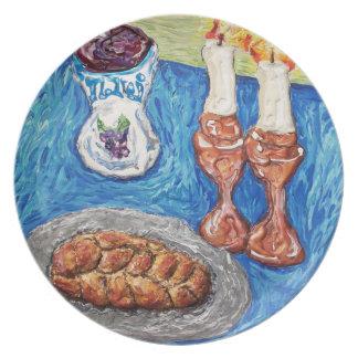 shabbat shalom art oringinal painting plate