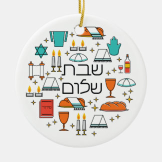 Shabbat Shalom Ceramic Ornament