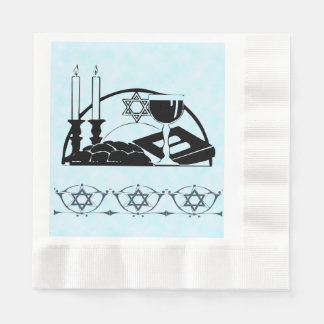 Shabbat Table, wine and kiddush Paper Napkin