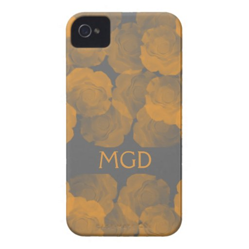 Shabby and chic peach chroma rose blooms monogram Case-Mate blackberry case