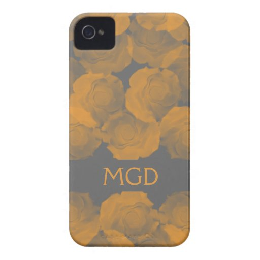 Shabby and chic peach chroma rose blooms monogram Case-Mate iPhone 4 cases