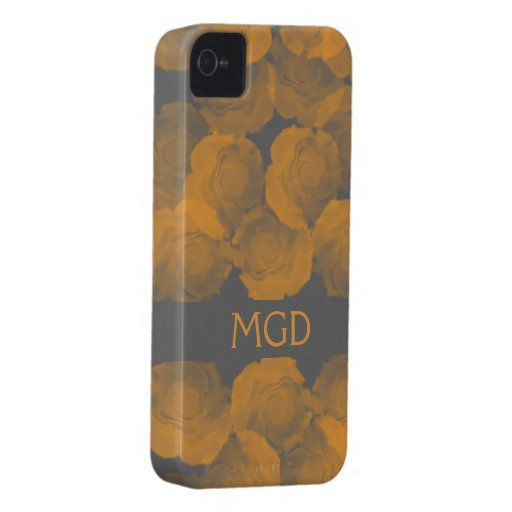 Shabby and chic peach chroma rose blooms monogram iPhone 4 cover