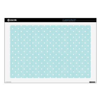 """shabby baby blue,fabric,white,polka dot,trendy,mod decals for 17"""" laptops"""
