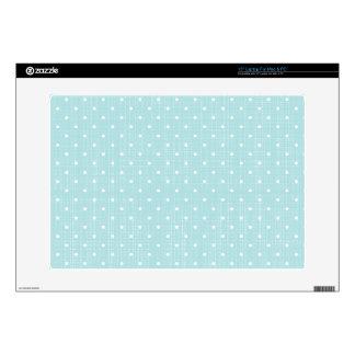 """shabby baby blue,fabric,white,polka dot,trendy,mod skins for 15"""" laptops"""