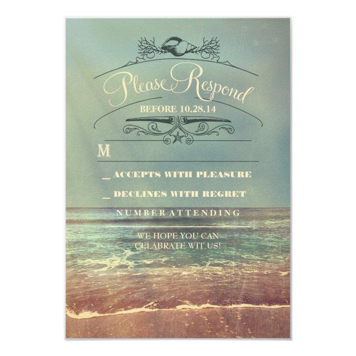 Shabby beach wedding RSVP card   Zazzle