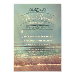 Shabby beach wedding RSVP card 3.5