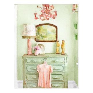 Shabby Bedroom Postcard