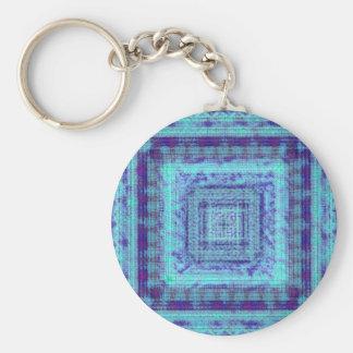 Shabby Blue Fabric Like Squares Pattern Decorative Basic Round Button Keychain