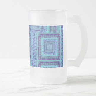 Shabby Blue Fabric Like Squares Pattern Decorative Frosted Glass Beer Mug