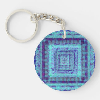 Shabby Blue Fabric Like Squares Pattern Decorative Keychain
